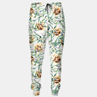 Thumbnail image of Pattern of leaf branches and ocher roses Pantalones de chándal, Live Heroes