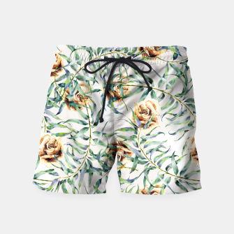 Thumbnail image of Pattern of leaf branches and ocher roses Pantalones de baño, Live Heroes