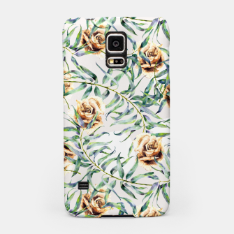 Thumbnail image of Pattern of leaf branches and ocher roses Carcasa por Samsung, Live Heroes