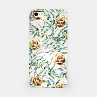 Thumbnail image of Pattern of leaf branches and ocher roses Carcasa por Iphone, Live Heroes