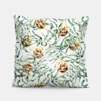 Thumbnail image of Pattern of leaf branches and ocher roses Almohada, Live Heroes