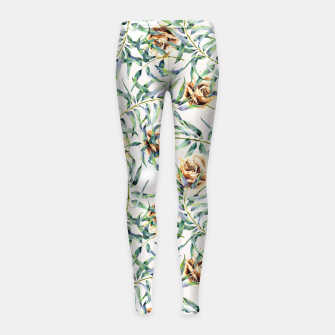 Thumbnail image of Pattern of leaf branches and ocher roses Leggings para niña, Live Heroes