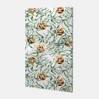 Thumbnail image of Pattern of leaf branches and ocher roses Canvas, Live Heroes