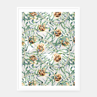 Thumbnail image of Pattern of leaf branches and ocher roses Cartel con marco, Live Heroes