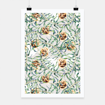 Thumbnail image of Pattern of leaf branches and ocher roses Cartel, Live Heroes