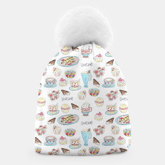 Thumbnail image of Seamless watercolor sketched desserts sweets pattern Beanie, Live Heroes