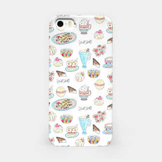 Thumbnail image of Seamless watercolor sketched desserts sweets pattern iPhone Case, Live Heroes