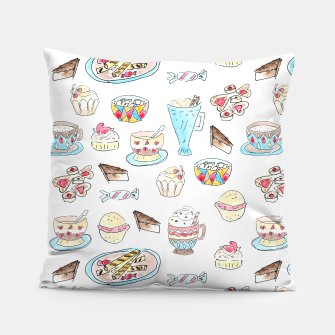 Thumbnail image of Seamless watercolor sketched desserts sweets pattern Pillow, Live Heroes