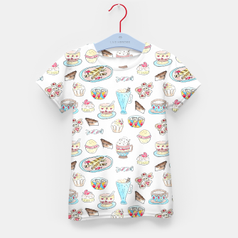 Thumbnail image of Seamless watercolor sketched desserts sweets pattern Kid's T-shirt, Live Heroes