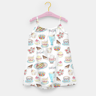 Thumbnail image of Seamless watercolor sketched desserts sweets pattern Girl's Dress, Live Heroes