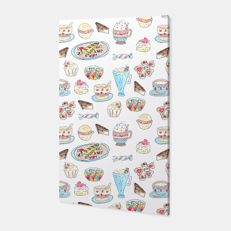 Thumbnail image of Seamless watercolor sketched desserts sweets pattern Canvas, Live Heroes