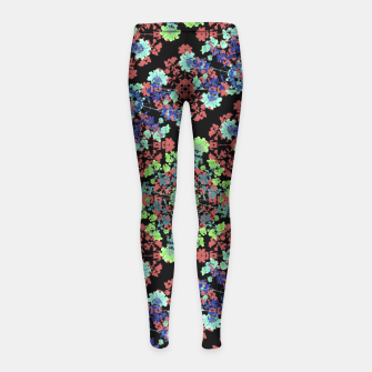 Thumbnail image of Colorful Stylized Floral Collage Girl's Leggings, Live Heroes