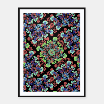 Thumbnail image of Colorful Stylized Floral Collage Framed poster, Live Heroes