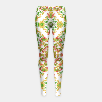 Thumbnail image of Colorful Stylized Floral Boho Girl's Leggings, Live Heroes