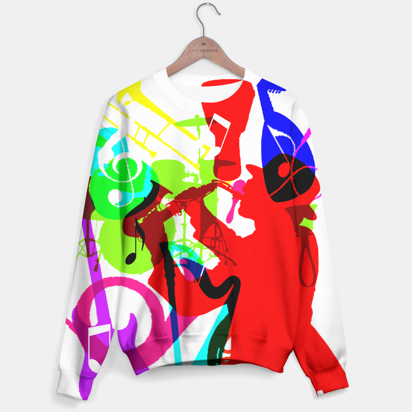 Image of Jazz Blues Rock & Roll Music Themed multi Color Graphic Sweater - Live Heroes
