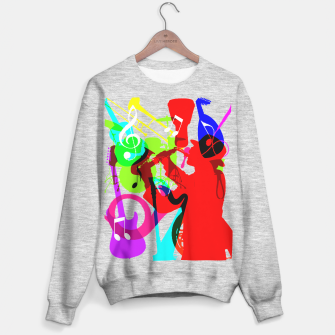 Thumbnail image of Jazz Blues Rock & Roll Music Themed multi Color Graphic Sweater regular, Live Heroes