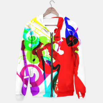 Thumbnail image of Jazz Blues Rock & Roll Music Themed multi Color Graphic Hoodie, Live Heroes
