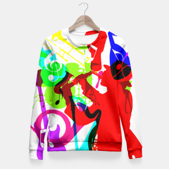Thumbnail image of Jazz Blues Rock & Roll Music Themed multi Color Graphic Fitted Waist Sweater, Live Heroes