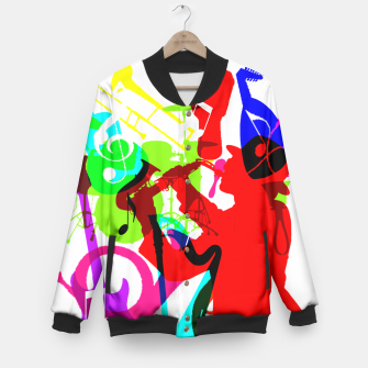 Thumbnail image of Jazz Blues Rock & Roll Music Themed multi Color Graphic Baseball Jacket, Live Heroes