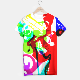 Thumbnail image of Jazz Blues Rock & Roll Music Themed multi Color Graphic T-shirt, Live Heroes