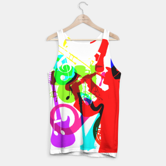 Thumbnail image of Jazz Blues Rock & Roll Music Themed multi Color Graphic Tank Top, Live Heroes
