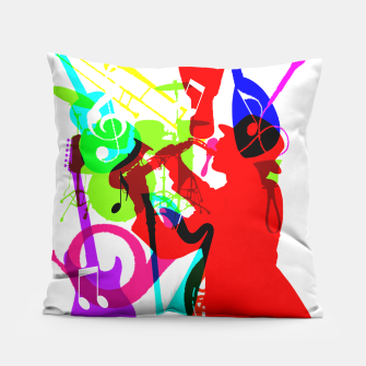 Thumbnail image of Jazz Blues Rock & Roll Music Themed multi Color Graphic Pillow, Live Heroes