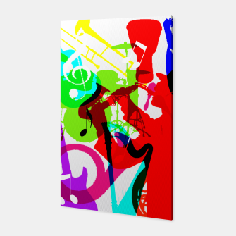 Jazz Blues Rock & Roll Music Themed multi Color Graphic Canvas thumbnail image