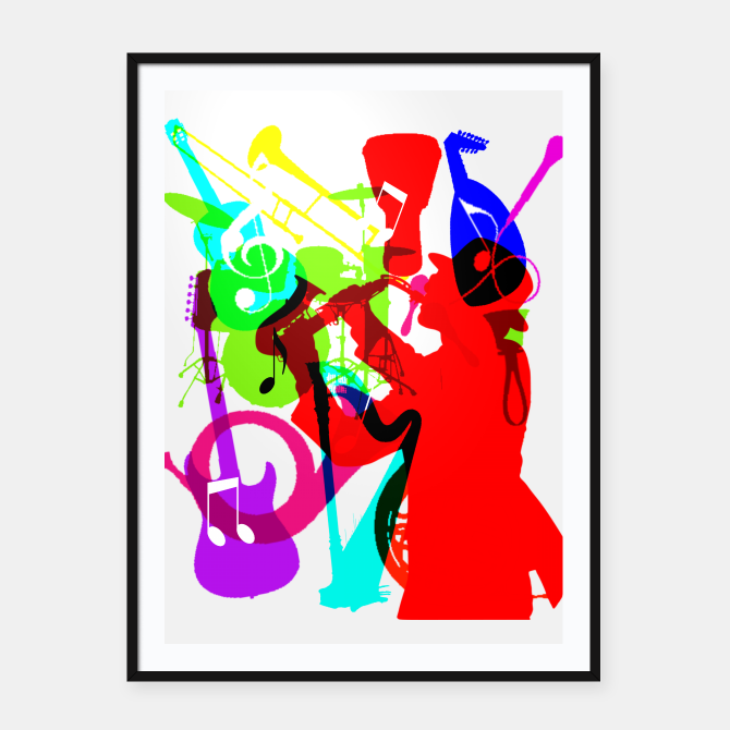 Jazz Blues Rock Amp Roll Music Themed Multi Color Graphic