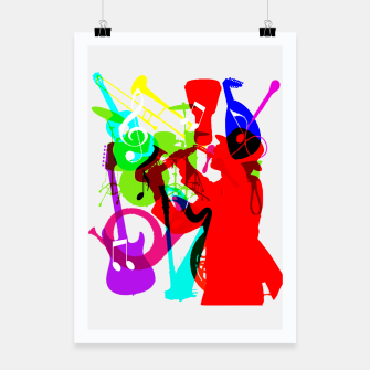 Thumbnail image of Jazz Blues Rock & Roll Music Themed multi Color Graphic Poster, Live Heroes