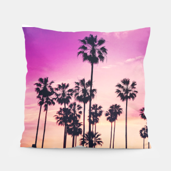 Thumbnail image of Relaxing Purple Sunset Beach Scene with Palms Pillow, Live Heroes