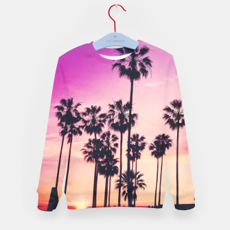 Thumbnail image of Relaxing Purple Sunset Beach Scene with Palms Kid's Sweater, Live Heroes
