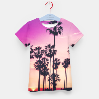 Thumbnail image of Relaxing Purple Sunset Beach Scene with Palms Kid's T-shirt, Live Heroes