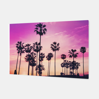 Thumbnail image of Relaxing Purple Sunset Beach Scene with Palms Canvas, Live Heroes