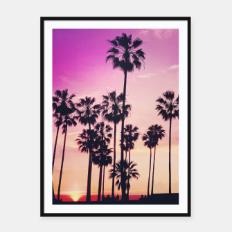 Thumbnail image of Relaxing Purple Sunset Beach Scene with Palms Framed poster, Live Heroes
