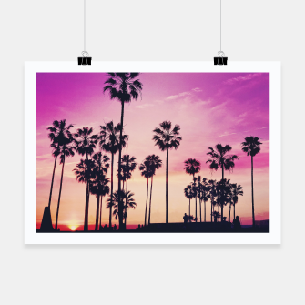 Thumbnail image of Relaxing Purple Sunset Beach Scene with Palms Poster, Live Heroes