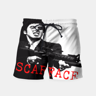 Thumbnail image of New Fashion Black Shirt For Mens Scarface Guns Apparels Gift T-shirt Swim Shorts, Live Heroes