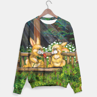Miniatur Rabbits on a Bench Sweater, Live Heroes