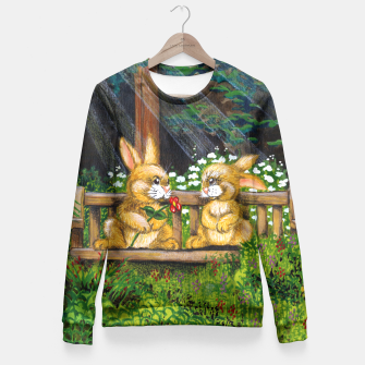 Miniatur Rabbits on a Bench Fitted Waist Sweater, Live Heroes