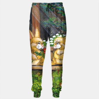 Miniatur Rabbits on a Bench Sweatpants, Live Heroes