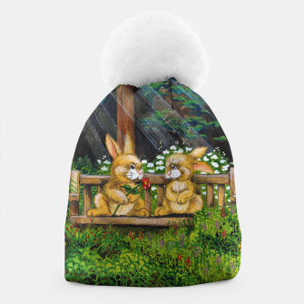Miniatur Rabbits on a Bench Beanie, Live Heroes