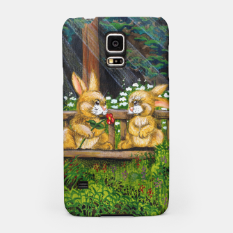 Miniatur Rabbits on a Bench Samsung Case, Live Heroes