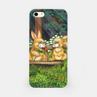 Miniatur Rabbits on a Bench iPhone Case, Live Heroes