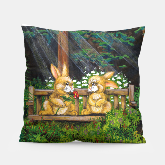 Miniatur Rabbits on a Bench Pillow, Live Heroes