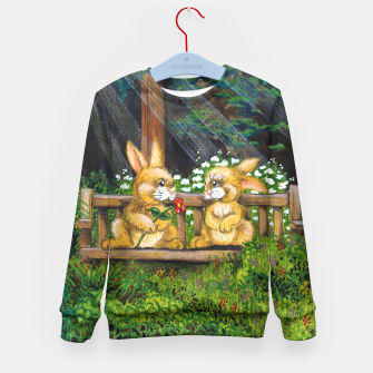 Miniatur Rabbits on a Bench Kid's Sweater, Live Heroes