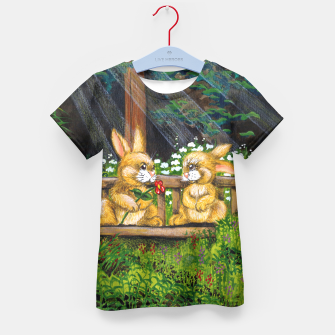 Miniatur Rabbits on a Bench Kid's T-shirt, Live Heroes