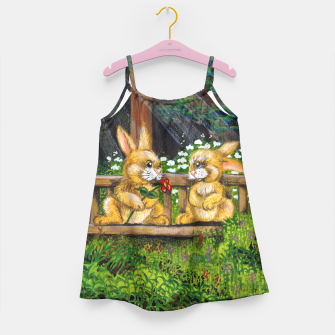 Miniatur Rabbits on a Bench Girl's Dress, Live Heroes