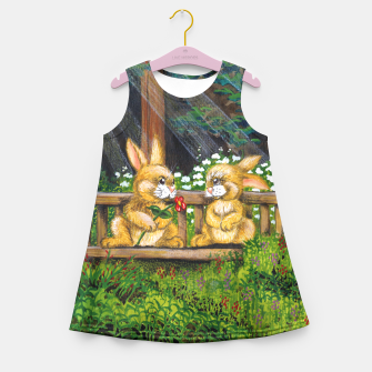 Miniatur Rabbits on a Bench Girl's Summer Dress, Live Heroes