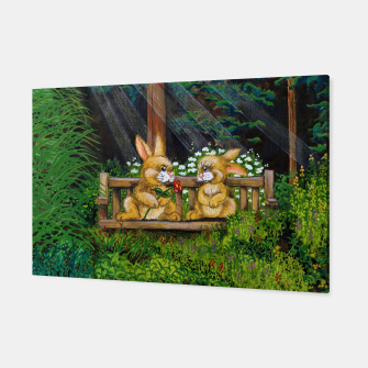 Miniatur Rabbits on a Bench Canvas, Live Heroes