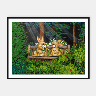 Miniatur Rabbits on a Bench Framed poster, Live Heroes