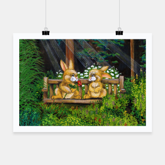 Miniatur Rabbits on a Bench Poster, Live Heroes